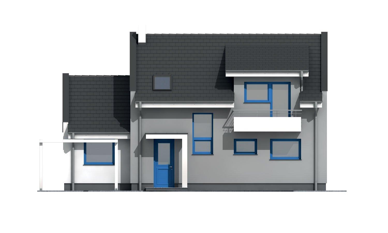 Pohľad 1. - Poschodový murovaný rodinný dom vhodný aj do radovej zástavby, alebo ako dvojdom. Zrušením galérie sa získa izba na poschodí.