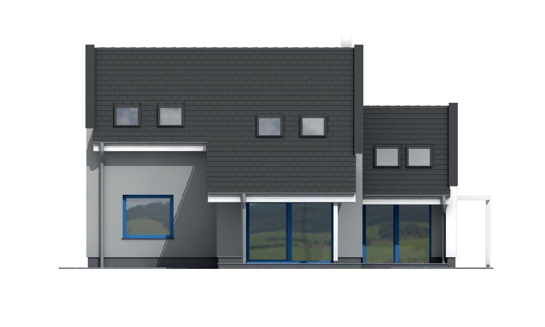 Pohľad 3. - Poschodový murovaný rodinný dom vhodný aj do radovej zástavby, alebo ako dvojdom. Zrušením galérie sa získa izba na poschodí.
