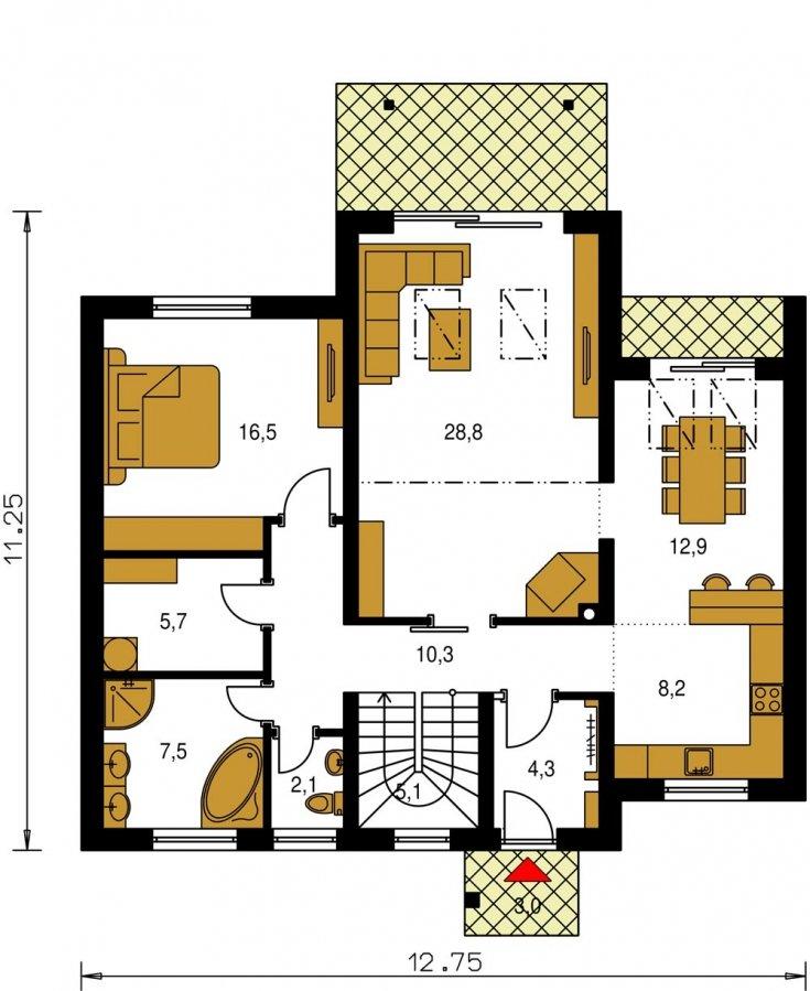 Pôdorys Prízemia - Poschodový murovaný rodinný dom vhodný aj do radovej zástavby, alebo ako dvojdom. Zrušením galérie sa získa izba na poschodí.