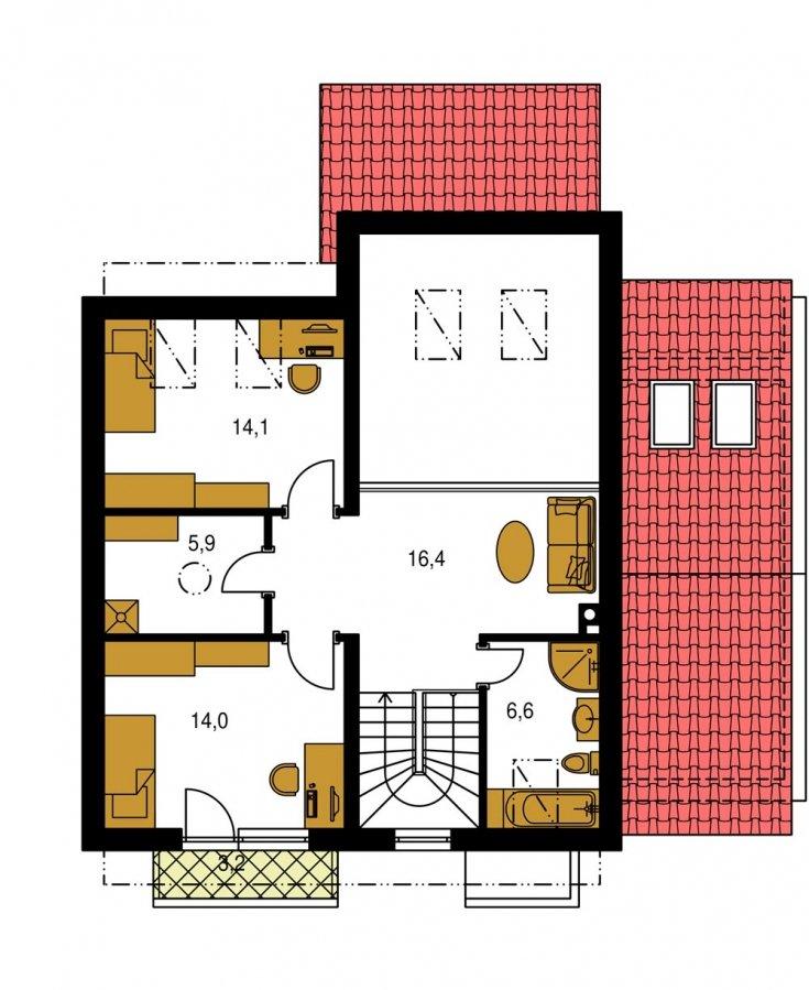 Pôdorys Poschodia - Poschodový murovaný rodinný dom vhodný aj do radovej zástavby, alebo ako dvojdom. Zrušením galérie sa získa izba na poschodí.