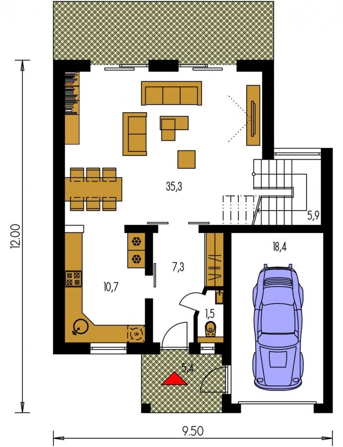 Pôdorys Prízemia - Moderný viacpodlažný rodinný dom