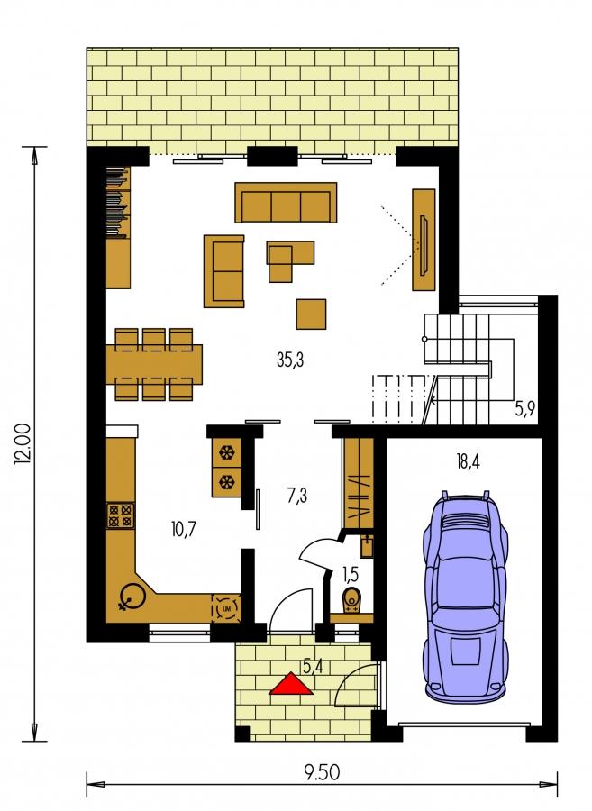 Pôdorys Prízemia - Moderný viacpodlažný rodinný dom.