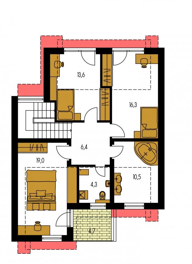 Pôdorys Poschodia - Moderný viacpodlažný rodinný dom.