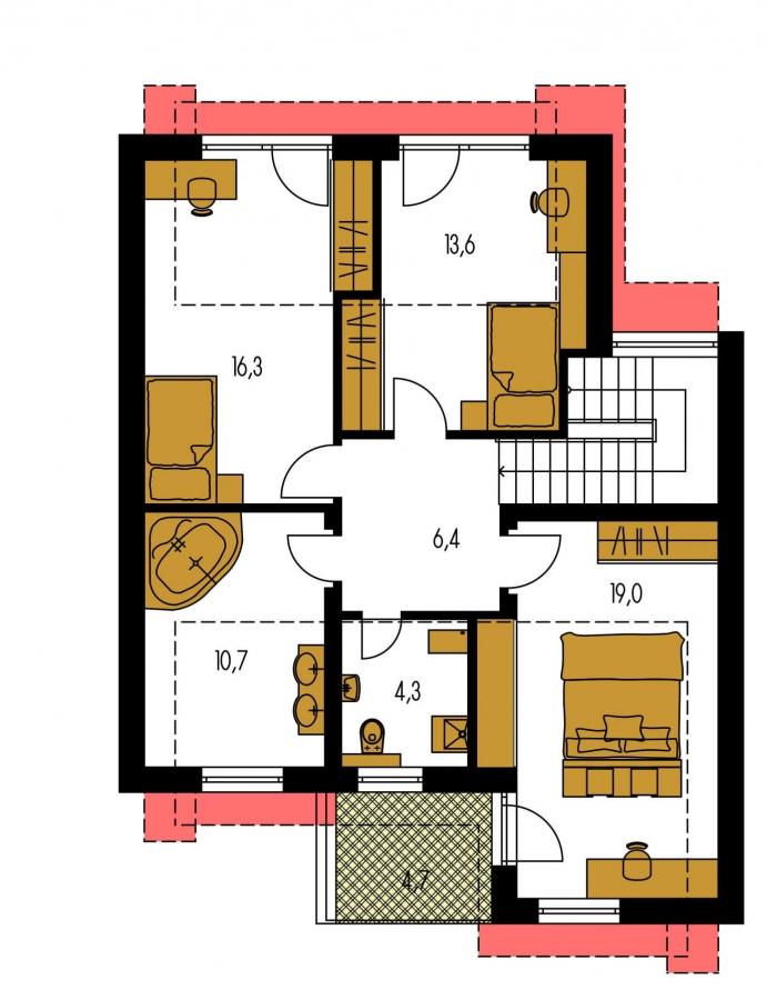 Pôdorys Poschodia - Moderný viacpodlažný rodinný dom