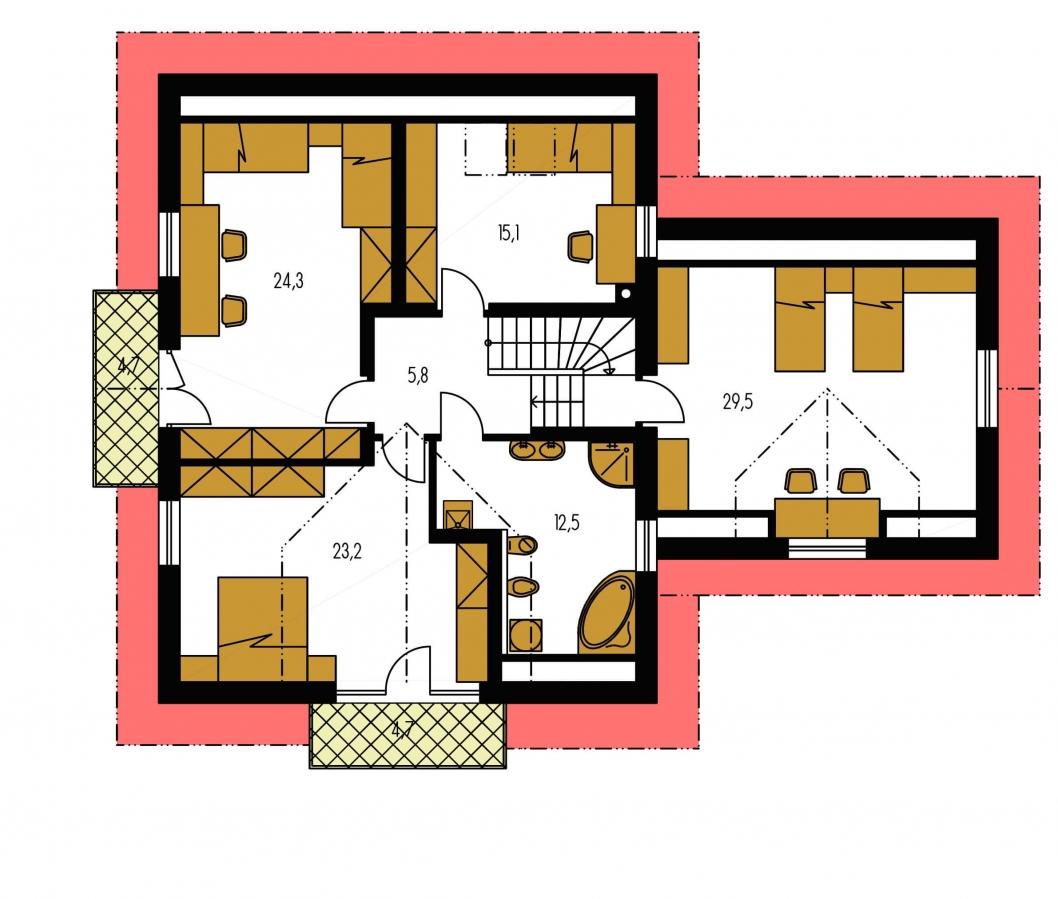 Pôdorys Poschodia - Veľký exkluzívny dom s dvojgarážou.