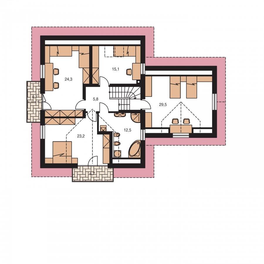 Pôdorys Poschodia - Veľký exkluzívny dom s dvojgarážou