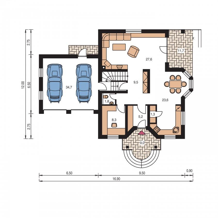 Pôdorys Prízemia - Veľký exkluzívny dom s dvojgarážou