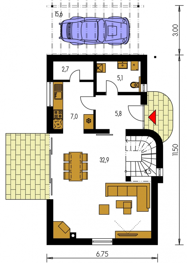 Pôdorys Prízemia - Dom na úzky pozemok s podkrovím