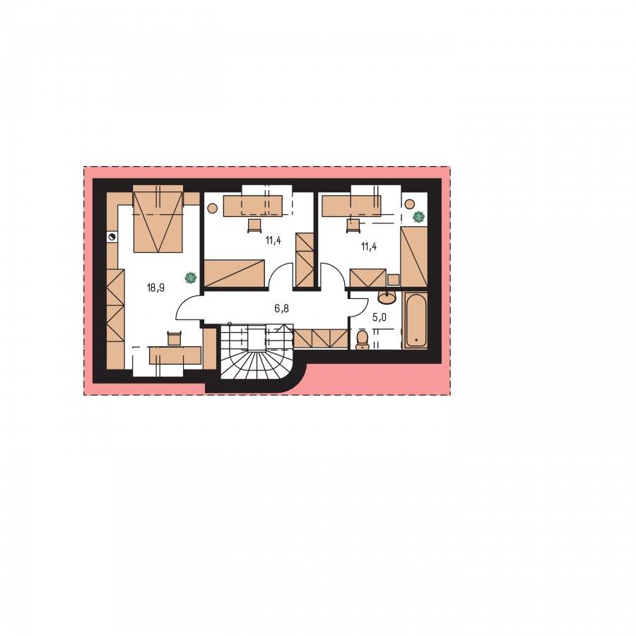 Pôdorys Poschodia - Dom na úzky pozemok s podkrovím