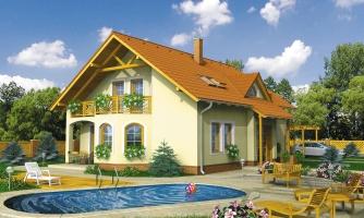 Dvojgeneračný dom so sedlovou strechou a vikierom.