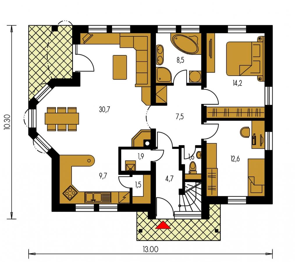 Pôdorys Prízemia - Dvojgeneračný podkrovný dom