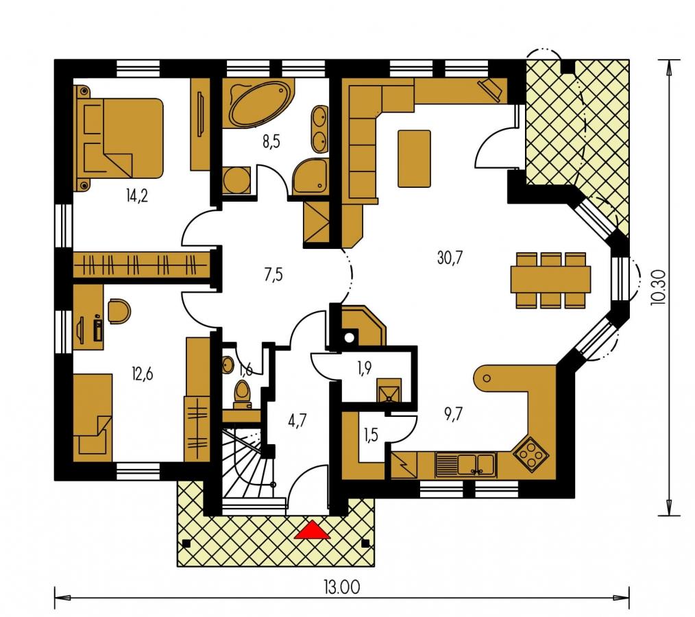 Pôdorys Prízemia - Dvojgeneračný dom so sedlovou strechou a vikierom