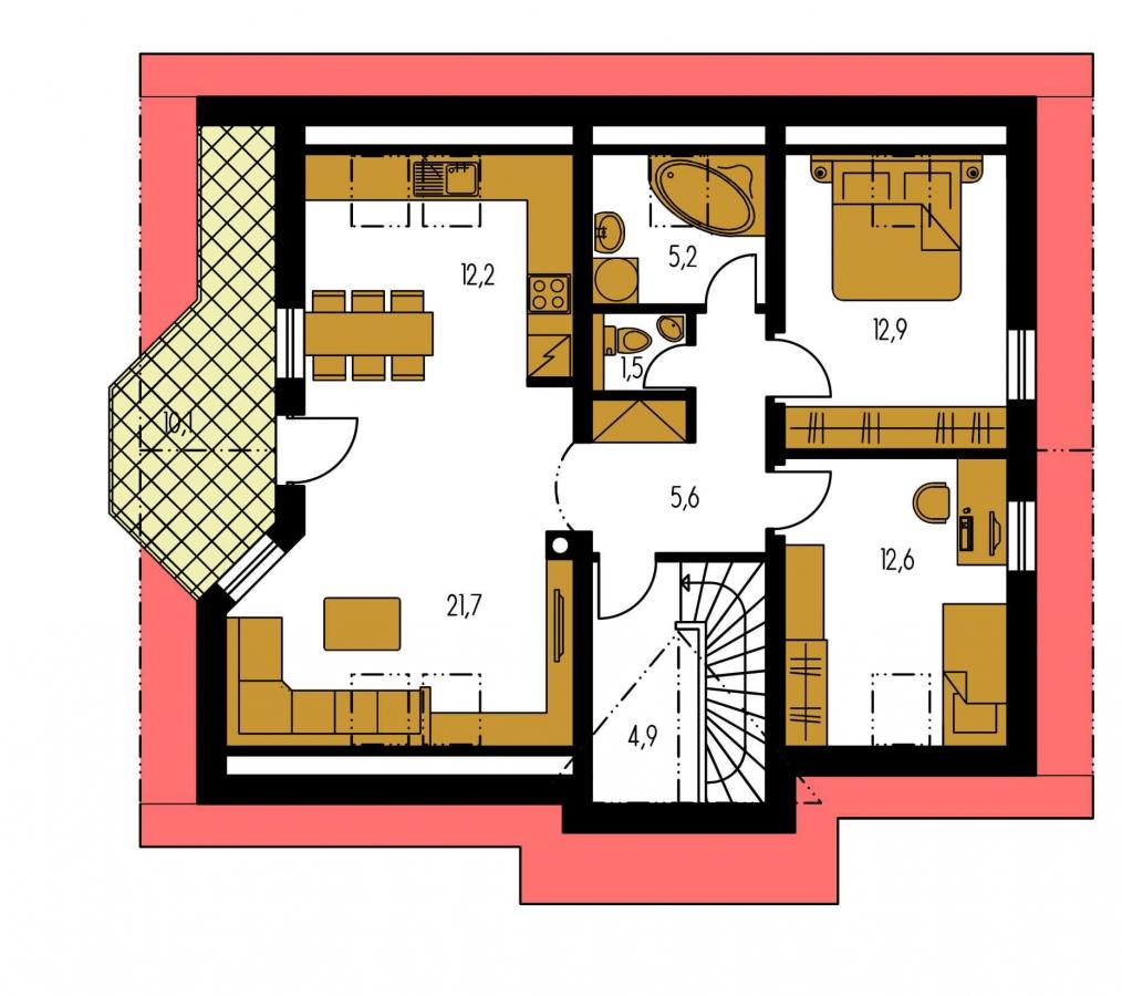 Pôdorys Poschodia - Dvojgeneračný dom so sedlovou strechou a vikierom