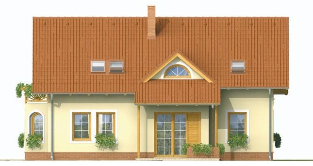 Pohľad 1. - Dvojgeneračný dom so sedlovou strechou a vikierom