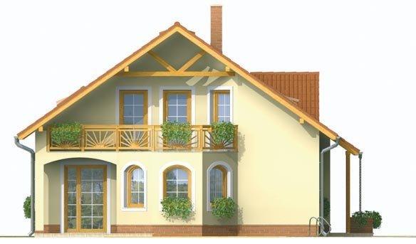 Pohľad 2. - Dvojgeneračný dom so sedlovou strechou a vikierom