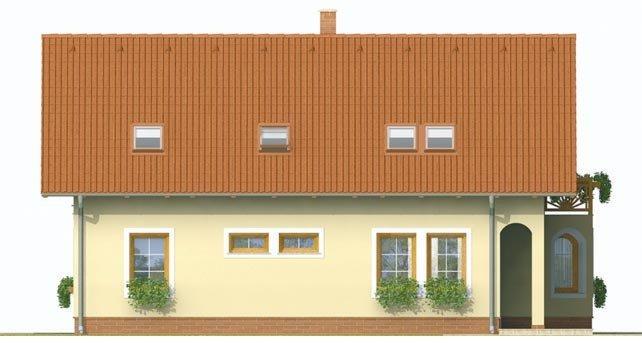 Pohľad 3. - Dvojgeneračný dom so sedlovou strechou a vikierom