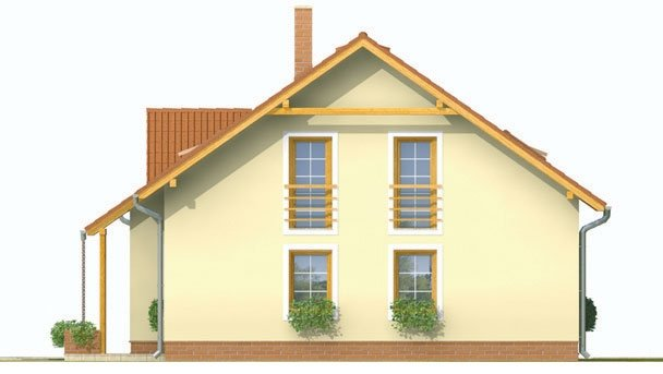 Pohľad 4. - Dvojgeneračný dom so sedlovou strechou a vikierom