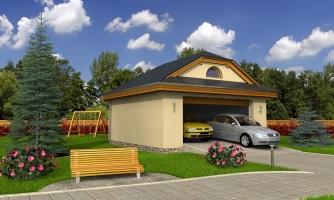 Garáž pre 2 autá so širokými garážovými dvermi, má polvalbovú strechu