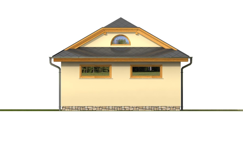 Pohľad 3. - Garáž pre 2 autá  so širokými garážovými dvermi, má polvalbovú strechu