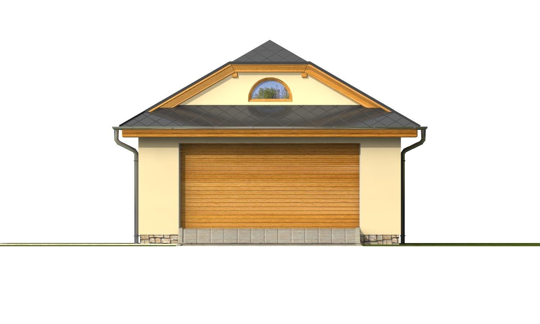 Pohľad 1. - Garáž pre 2 autá so širokými garážovými dvermi, má polvalbovú strechu