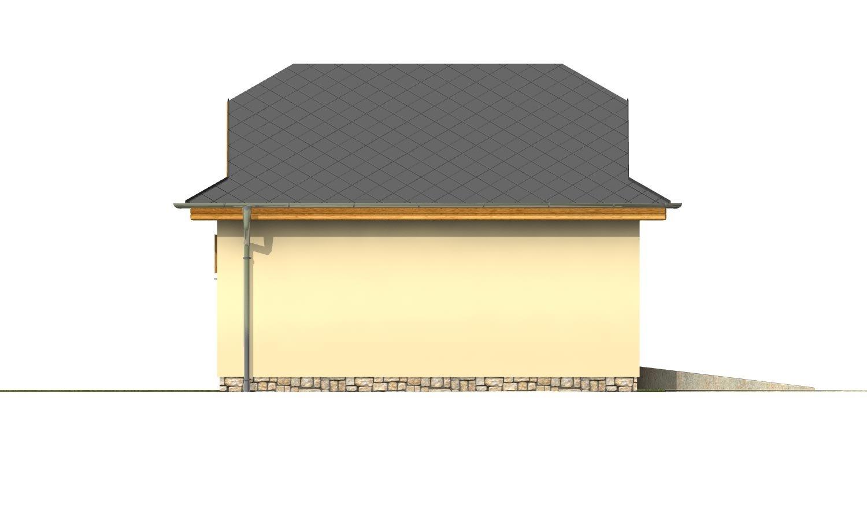Pohľad 2. - Garáž pre 2 autá  so širokými garážovými dvermi, má polvalbovú strechu