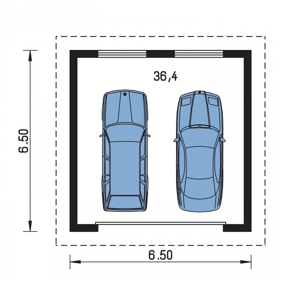 Pôdorys Prízemia - Garáž pre 2 autá so širokými garážovými dvermi, má polvalbovú strechu
