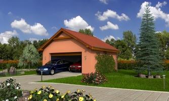 Samostatne stojaca dvojgaráž so sedlovou strechou a širokými garážovými vrátami