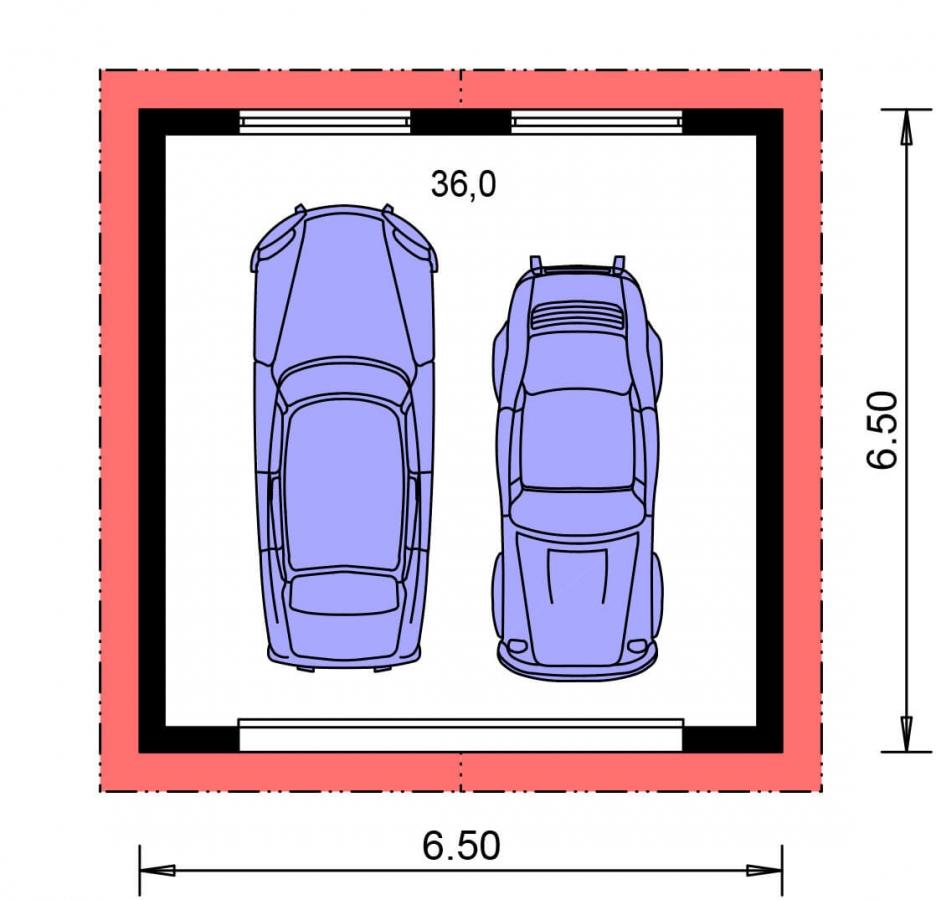 Pôdorys Prízemia - Samostatne stojaca dvojgaráž so sedlovou strechou a širokými garážovými vrátami