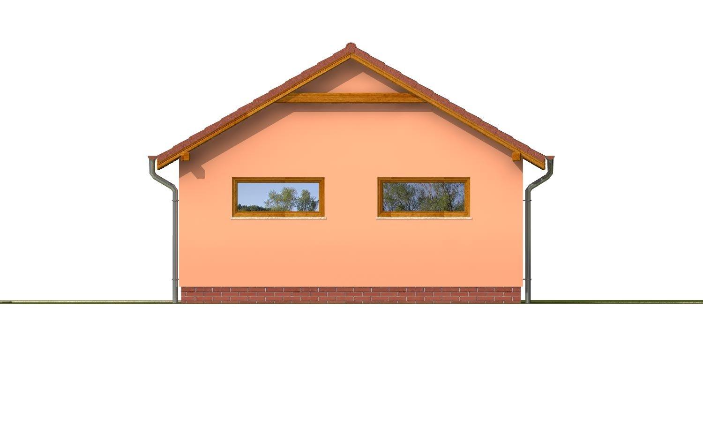 Pohľad 3. - Samostatne stojaca dvojgaráž so sedlovou strechou a širokými garážovými vrátami