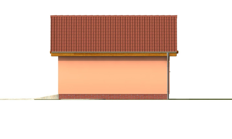 Pohľad 4. - Samostatne stojaca dvojgaráž so sedlovou strechou a širokými garážovými vrátami