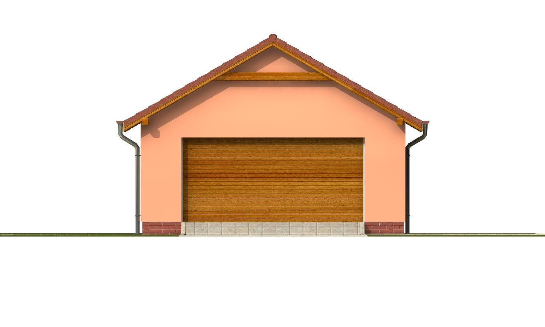 Pohľad 1. - Samostatne stojaca dvojgaráž so sedlovou strechou a širokými garážovými vrátami