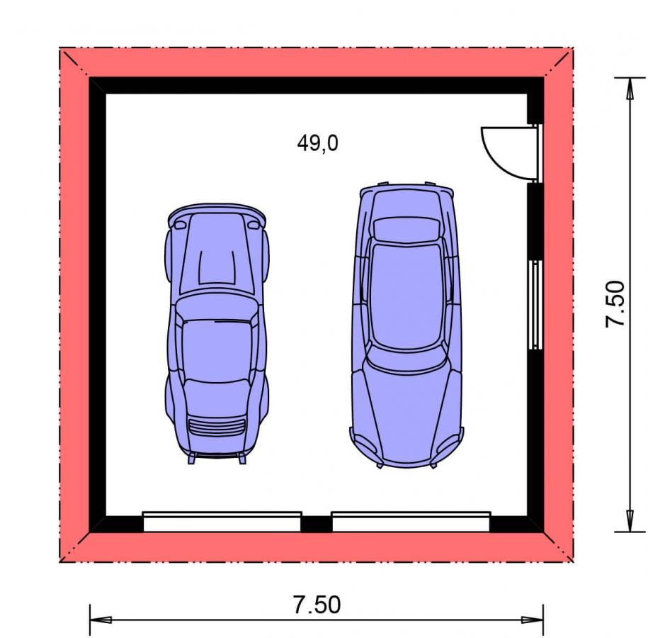 Pôdorys Prízemia - Projekt dvojgaráže so stanovou strechou