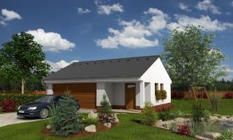 Dvojgaráž so záhradným skladom a sedlovou strechou