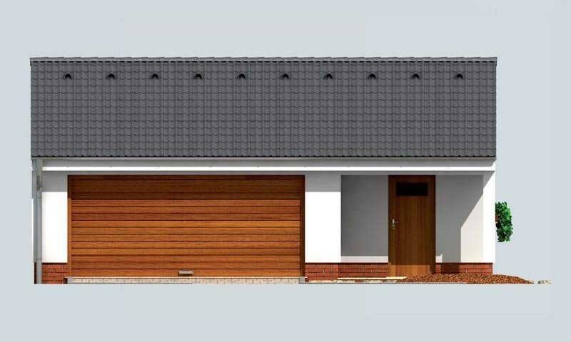 Pohľad 1. - Dvojgaráž so záhradným skladom a sedlovou strechou
