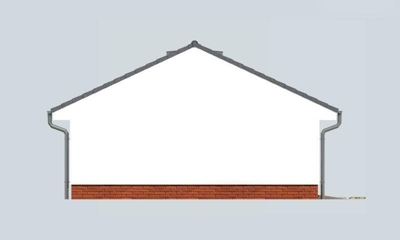Pohľad 2. - Dvojgaráž so záhradným skladom a sedlovou strechou