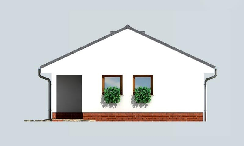 Pohľad 4. - Dvojgaráž so záhradným skladom a sedlovou strechou