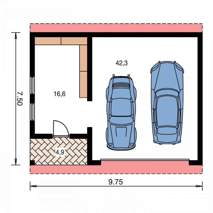 Pôdorys Prízemia - Dvojgaráž so záhradným skladom a sedlovou strechou