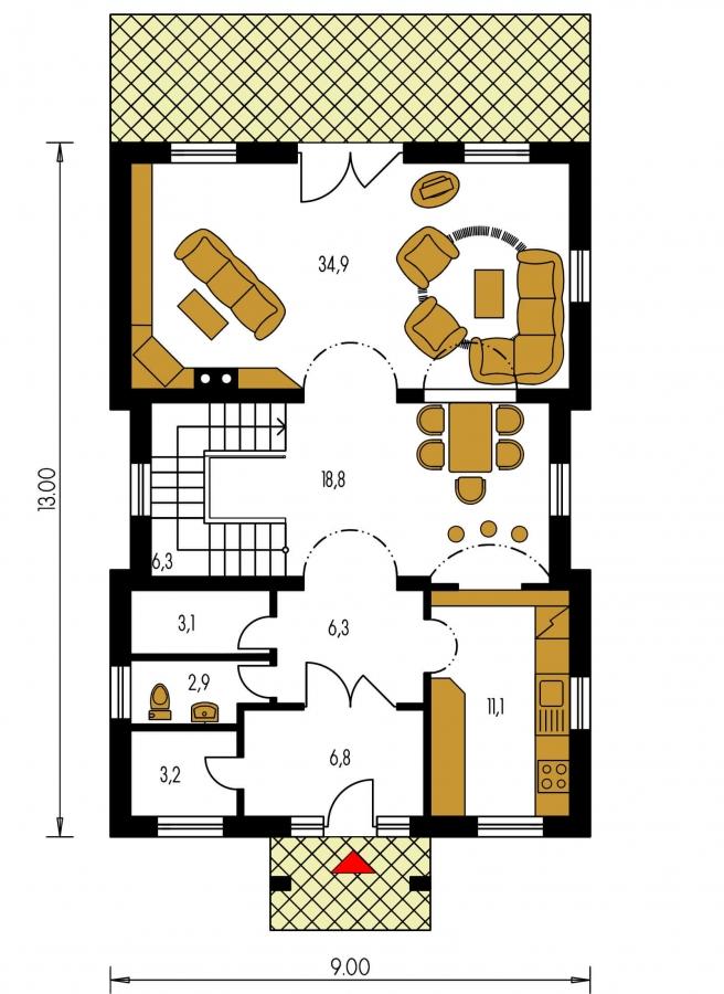 Pôdorys Prízemia - Veľký dom s obytným podkrovím.