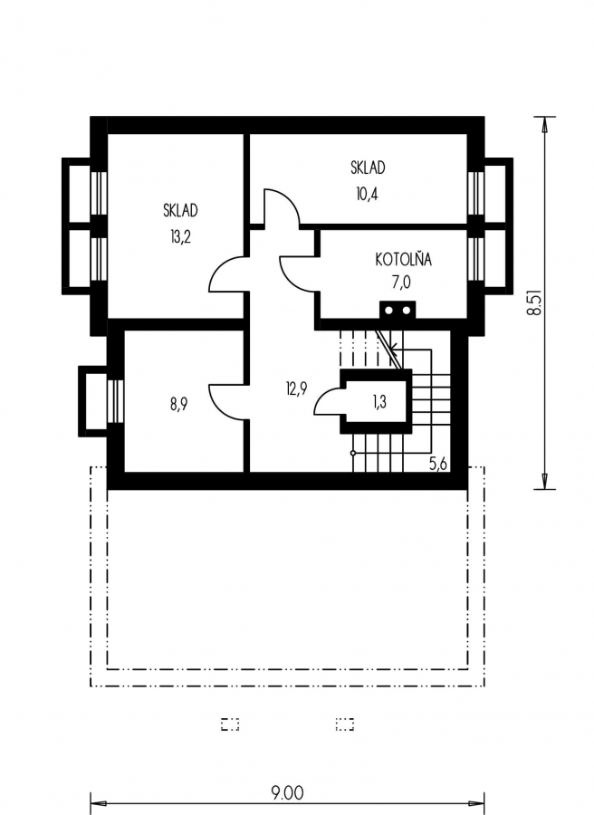 Pôdorys Suterénu - Veľký dom s obytným podkrovím.