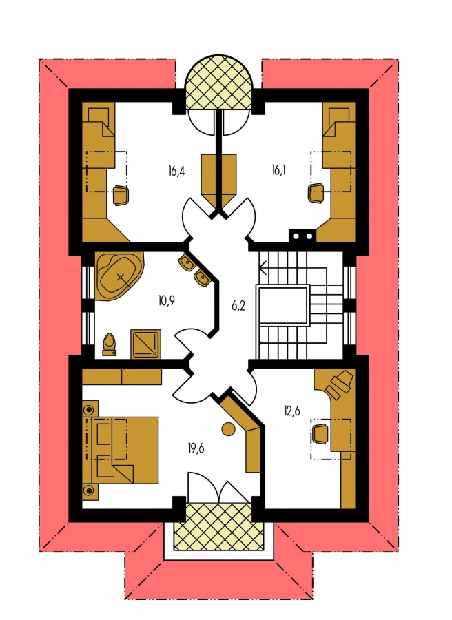 Pôdorys Poschodia - Veľký dom s obytným podkrovím.