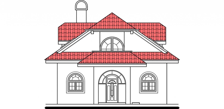Pohľad 1. - Veľký dom s obytným podkrovím.