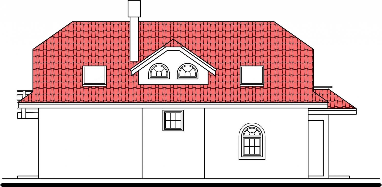 Pohľad 2. - Veľký dom s obytným podkrovím.