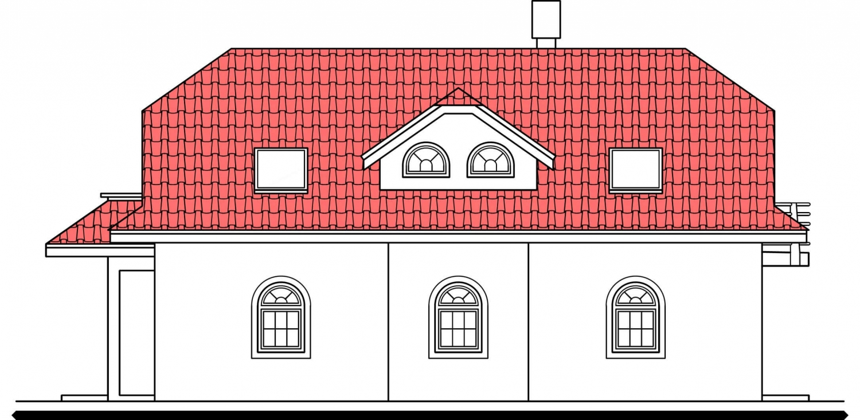 Pohľad 4. - Veľký dom s obytným podkrovím.