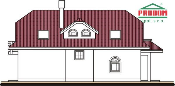 Pohľad 4. - Veľký dom s obytným podkrovím