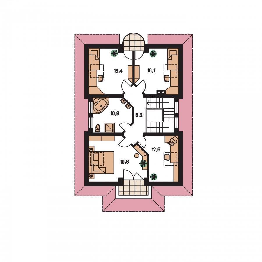 Pôdorys Poschodia - Veľký dom s obytným podkrovím
