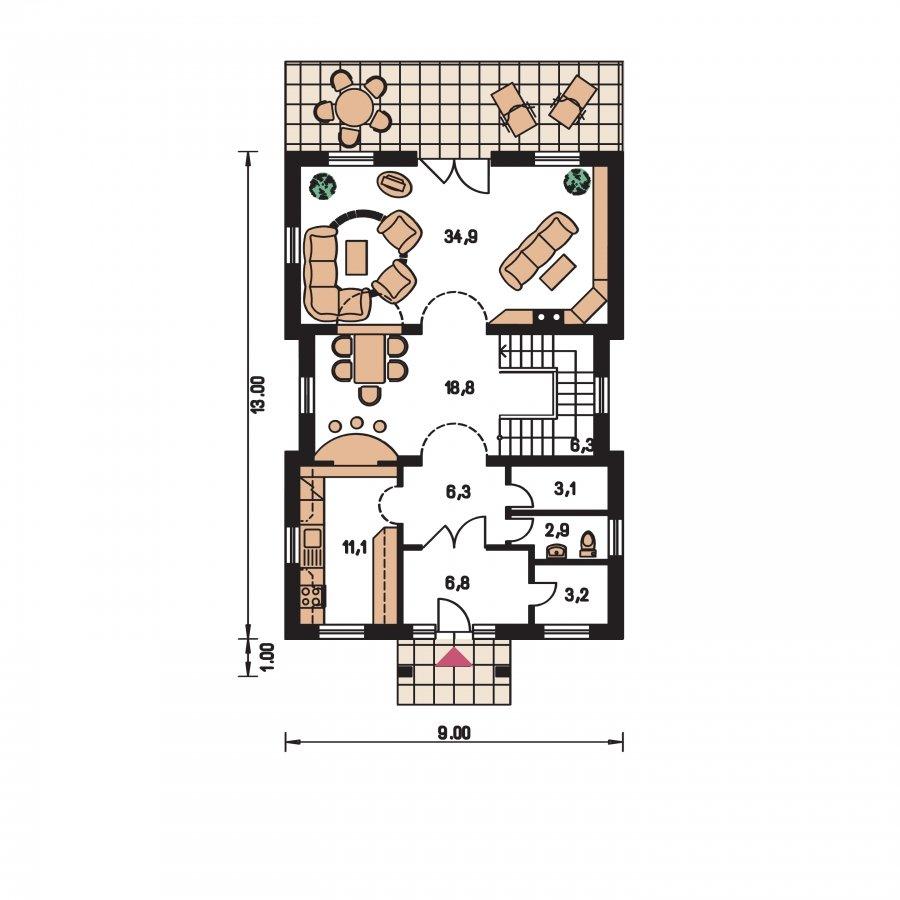 Pôdorys Prízemia - Veľký dom s obytným podkrovím