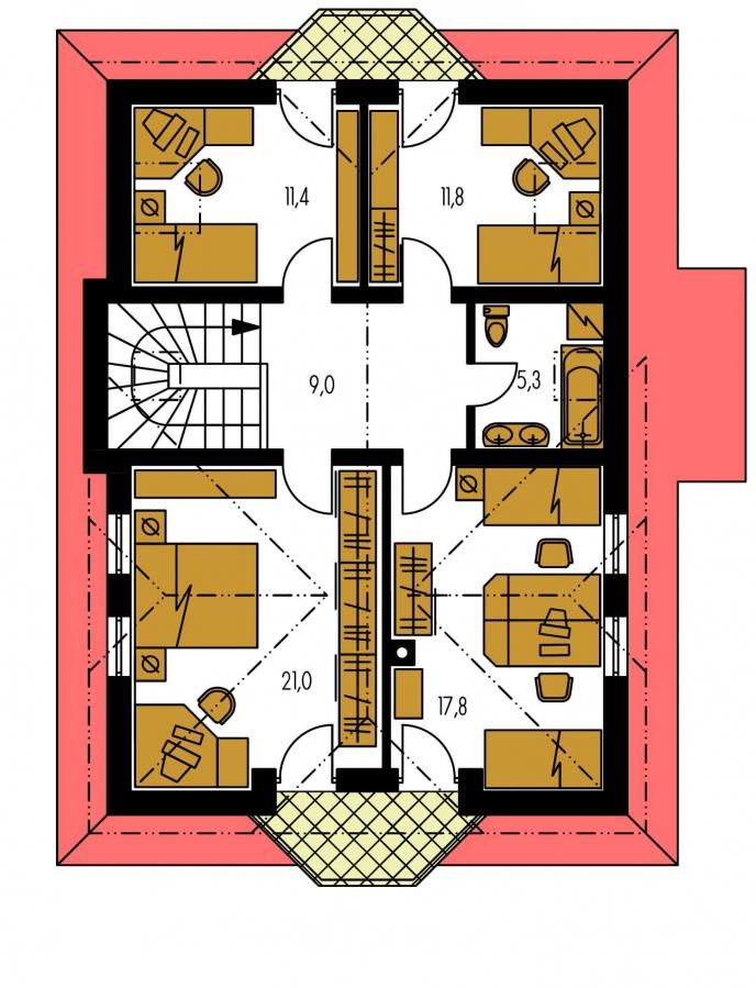 Pôdorys Poschodia - Zaujímavý dom s podkrovím.