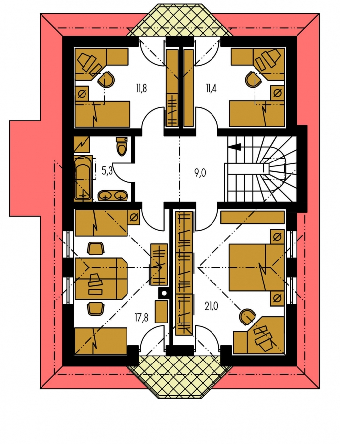 Pôdorys Poschodia - Zaujímavý dom s podkrovím
