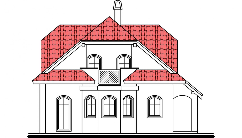 Pohľad 2. - Zaujímavý dom s podkrovím.