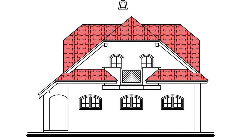 Pohľad 4. - Zaujímavý dom s podkrovím.